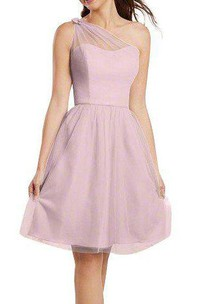 Illusion One Shoulder Chiffon A-line Bridesmaid Dress