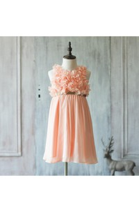 High Neck Flower Bodice A-line Chiffon Long Dress Pleated Skirt