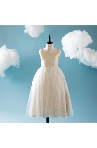 Empire V Neck Sleeveless Tulle Ball Gown With Sequins and Bandage