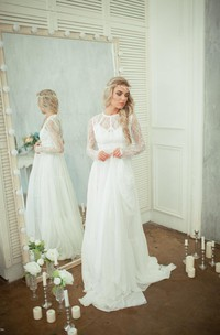 Jewel Neck Long Sleeve A-Line Lace and Chiffon Dress With Illusion Back