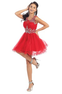 A-Line Short Square-Neck Sleeveless Tulle Keyhole Dress With Ruffles And Beading
