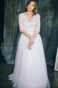 V-Neck Tulle Lace Satin Weddig Dress