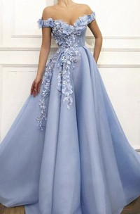 Floral Appliqued Adorable Off-the-shoulder Ball Gown Dress With Beading