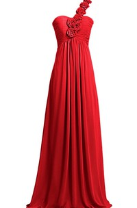 Elegant One-shoulder Ruching Dress With 3D Flowers