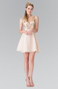 A-Line Short V-Neck Sleeveless Chiffon Keyhole Dress With Sequins
