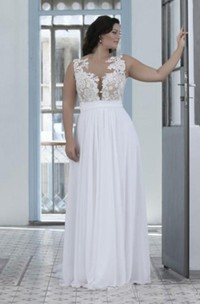 A Line Sheer Bateau Neck Sweetheart Lace Top High Quality Plus Size Brides Gown