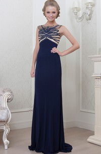 A-Line Sleeveless Long Bateau-Neck Jersey Evening Dress