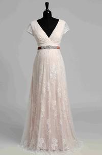A Line Garden Cap Short Sleeve Maternity Wedding Dress