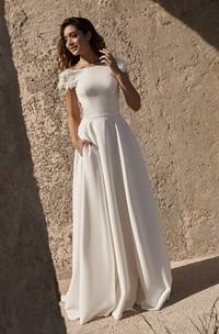 Deep V-back Short Sleeve Back Bateau Satin Wedding Dress With Flower Details And Straps