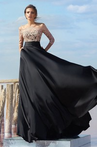 A Line Floor Length Off The Shoulder 3 4 Length Sleeve Chiffon Keyhole Dress