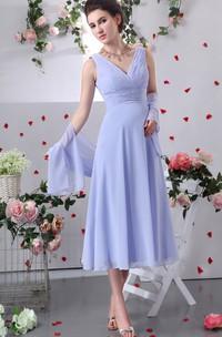 Chiffon V-Neck Tea-Length Dress With Criss-Cross Ruching