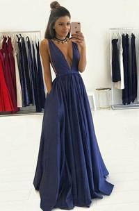 A-Line Taffeta V-neck Sleeveless Zipper Dress