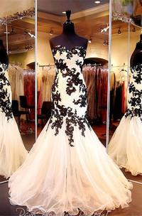 Elegant Sweetheart Black Appliques Evening Dresses 2018 Mermaid Sweetheart Tulle