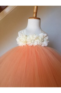 Halter Empire Floral Bodice Tulle Ball Gown With Bow