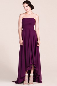 Strapless High-low Chiffon Gown With Pleats