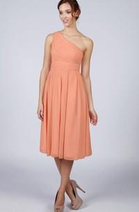One Shoulder A-line Pleated Chiffon Knee Length Dress Orange