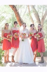 Sweetheart Knee-length A-line Chiffon Dress