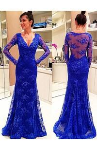 Long Sleeve V-neck Lace Dress with Illusion Back