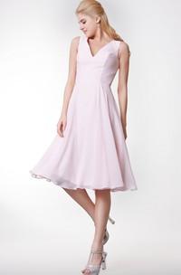 Simple Style V-neck A-line Tea Length Dress