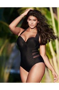Plus Size Sexy Black Swimsuit With Mesh