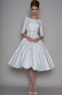 A-Line Tea-Length 3-4 Sleeve Bateau Neck Jeweled Satin Wedding Dress