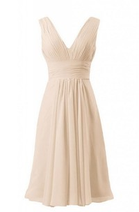 Sleeveless V-neck Short Empire Chiffon Dress