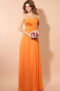 Empire Chiffon Dress With Criss-Cross Ruching and Ruching