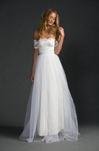 Off-The-Shoulder A-Line Tulle Dress With Lace Bodice