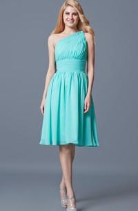 Boho One Shoulder Ruched A-line Short Chiffon Dress