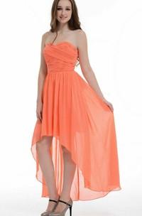 High-low Asymmetrical Sweetheart Chiffon Dress With Ruffles