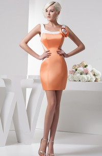 Strapped Body-Fitting Satin Gown With Flower