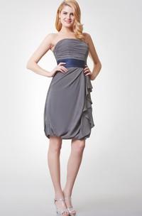 Strapless Ruched Short Chiffon Dress With Satin Sash