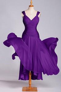 Sleeveless V-neck Tea-length Dress with Ruching