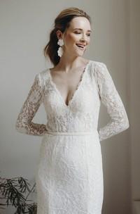 Plunging V-neck Sexy Sheath Lace Long Sleeve Wedding Dress With Keyhole Back