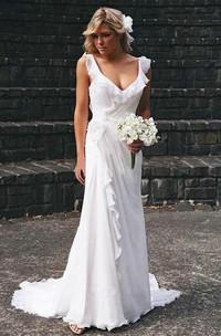 Elegant V-neck Chiffon Ruffles Sleeveless Wedding Dress Bridal Gowns