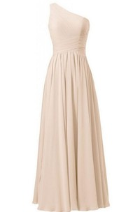 One-shoulder Chiffon Dress With Crisscross Pleats
