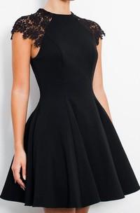 A-line Short Sleeve Satin High Neck Zipper Short Mini Homecoming Dress