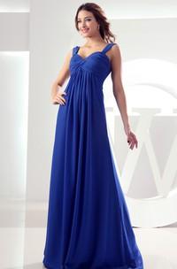 Chiffon Pleated Maxi Dress With Ruching and Empire Waist