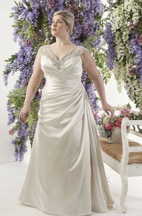Satin Side-Ruched Caped-Sleeve Dress With Lace Illusion Back