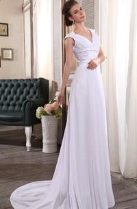 Sleeveless V-Neck Chiffon Sheath Dress With Ruching