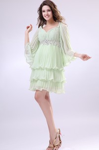 V-Neck Puff Sleeve Short Dress With Pleating and Beading