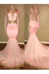 Mermaid Trumpet Satin V-neck Long Sleeve Open Back Dress