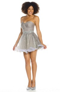 A-Line Ruched Mini Sleeveless Sweetheart Sequins&Tulle Prom Dress With Waist Jewellery