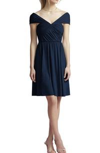 V-neck Cap Sleeve Short Chiffon Bridesmaid Dress