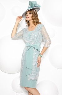 Mini Appliqued 3-4 Sleeve Square Neck Chiffon Mother Of The Bride Dress