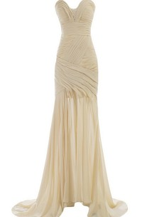 Sweetheart Sweep Train Gown With Ruching and Beading