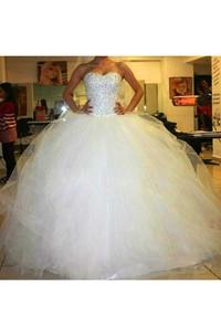 Sweetheart Tulle Beading Crystal Diamond Strapless A-Line Wedding Dresses