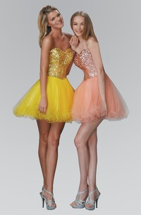 A-Line Short Sweetheart Sleeveless Sequins Backless Dress With Ruffles