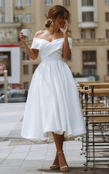 Vintage A Line Off-the-shoulder Satin Tea-length Sleeveless Wedding Dress with Criss Cross and Ruching