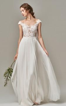 Elegant Bateau Chiffon Lace A Line Short Sleeve Floor-length Wedding Dress with Appliques